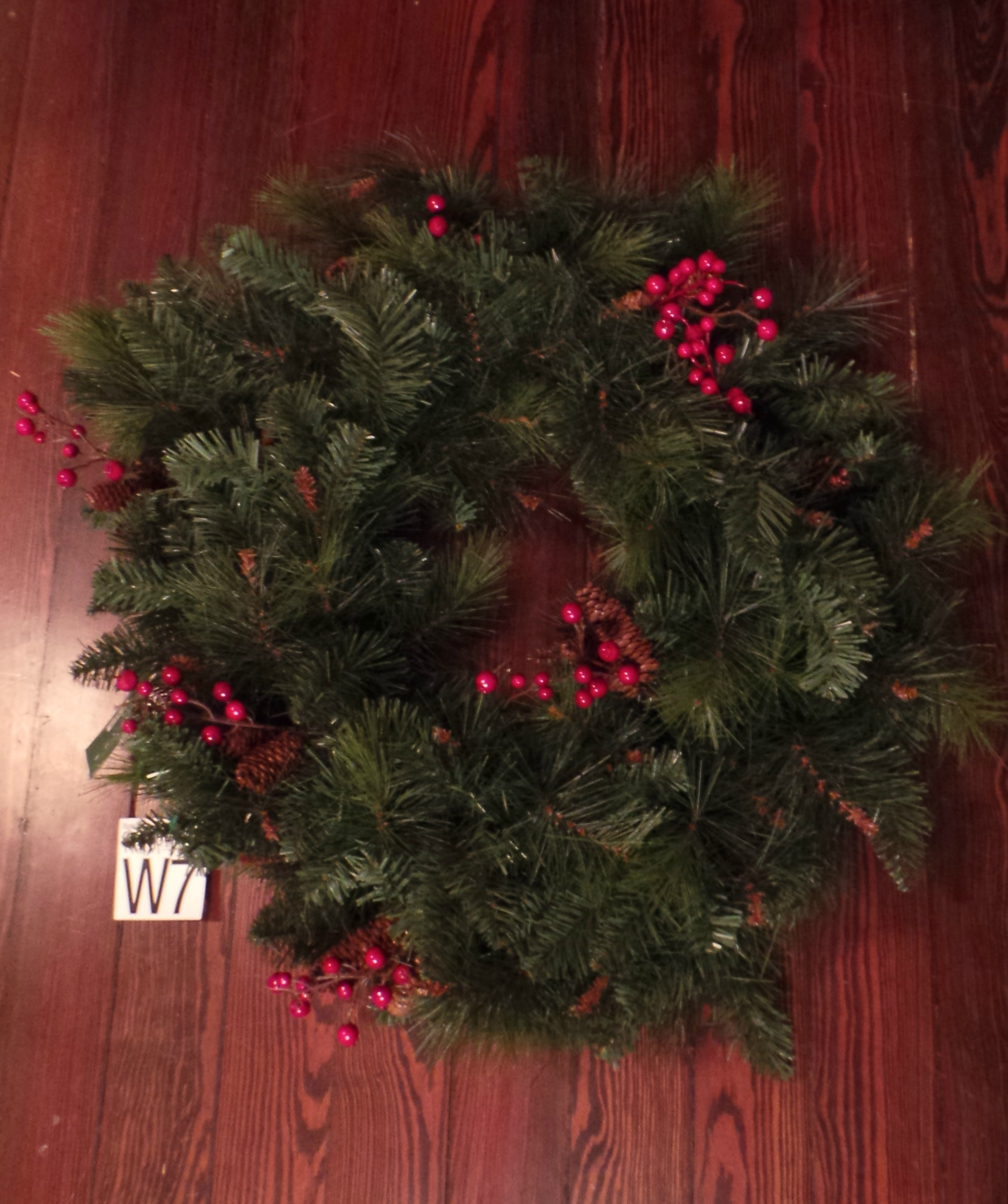 i started with a plain wreath i purchased on sale at hobby lobby i cut the red beads off of it but left the pine cones i also purchased a plain burlap - Hobby Lobby Christmas Wreaths