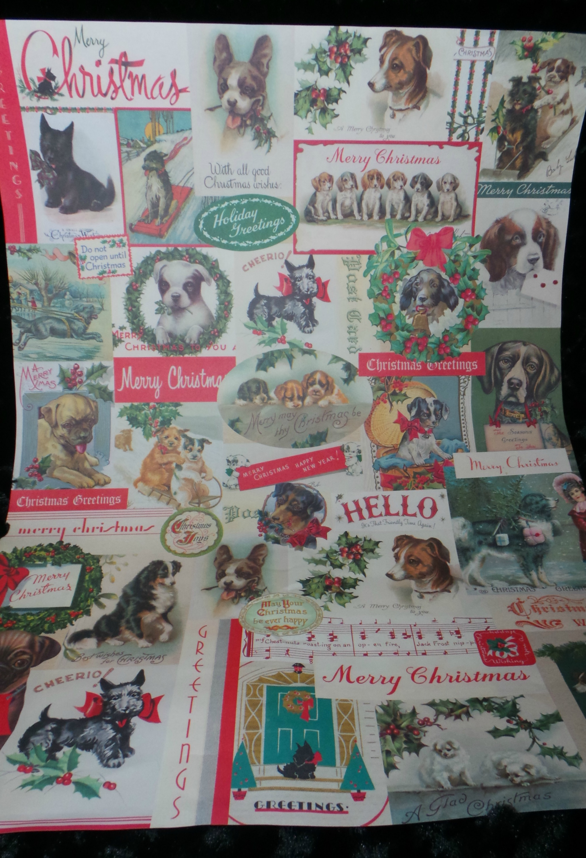 Pet craft holiday dog candles the rescue mama the christmas cavallini dog paper that i ordered from the papersource for 395sheet you could use any pictures you want though and old greeting cards kristyandbryce Images