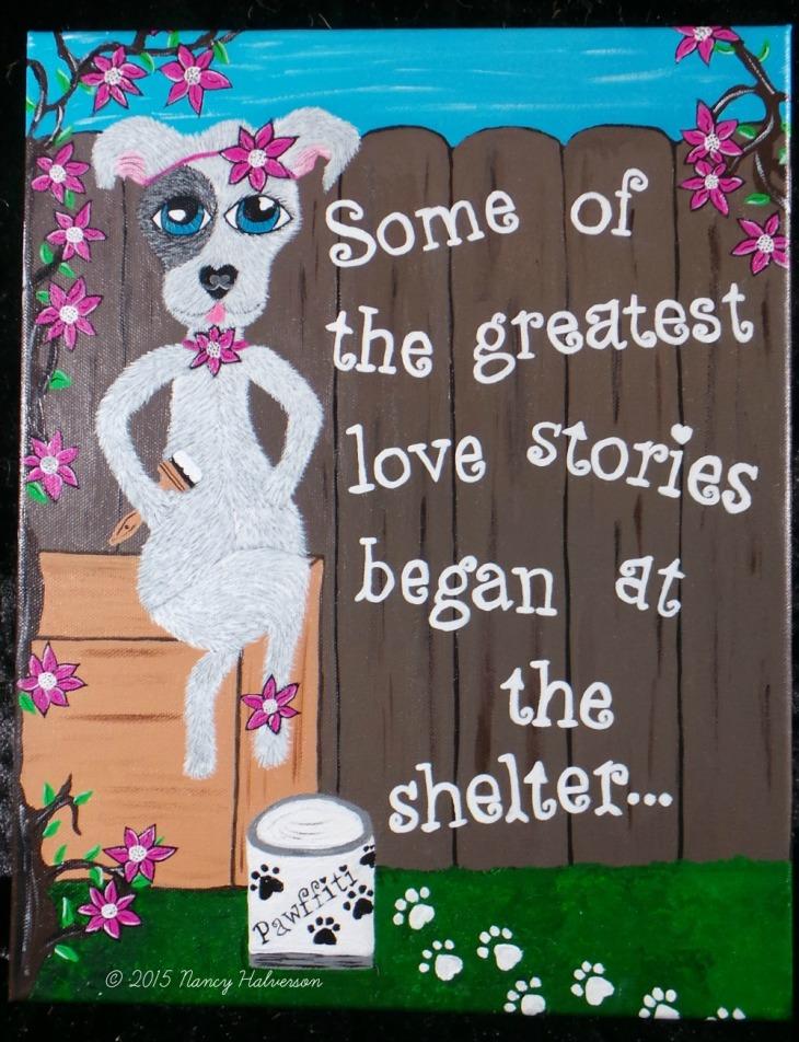 Pet Rescue Art, Pit Bull Art, Pit Bull Painting, Dog Rescue Art, Dog mom gift