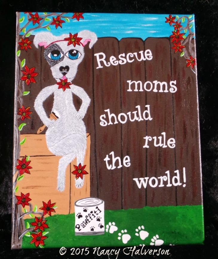 Pet Rescue Art, Pit bull painting, Pit bull art, pit bull rescue art, dog mom gift