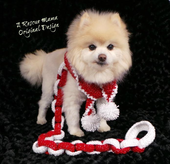 handmade dog leash, christmas dog leash, red and white dog leash, gift for dog mom, dog leash, crochet dog leash