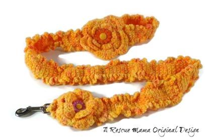 Orange Dog Leash, Crocheted Dog Leash, Unique Dog Leash, Fancy Dog Leash, Gift for Dog Mom,