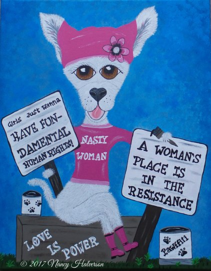 The Rescue Mama, pet rescue art, political art, dog rescue art
