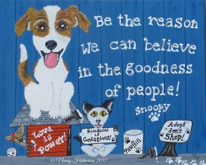 The Rescue Mama, Nancy Halverson, dog rescue art, pet rescue art, political art